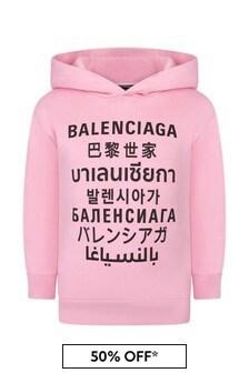 Balenciaga Kids Girls Pink Cotton Hoody