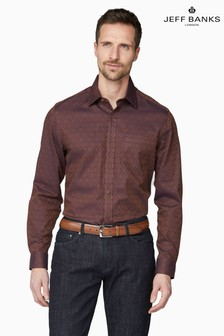 Jeff Banks Brown Design Jacquard Tailored Fit Casual Shirt