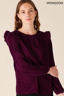 Monsoon Purple Velvet Ruffle Detail Top