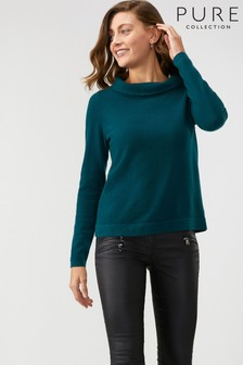 Pure Collection Pine Green Cashmere Bardot Sweater