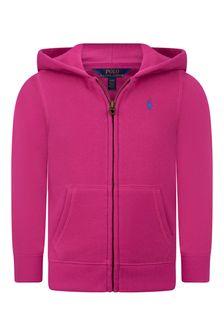 Girls Raspberry Pink Zip Up Top