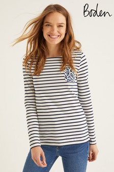Boden Ivory Long Sleeve Breton T-Shirt