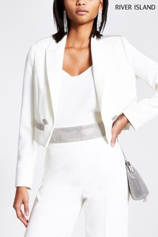 River Island White Mulligan Heatseal Crop Blazer