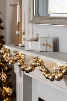 Gold Lit Decorative Bauble Garland