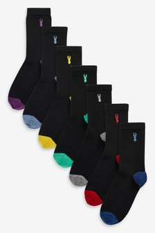 7 Pack Cotton Rich Stag Embroidery Socks (Older)