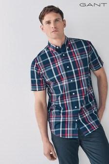 GANT Tech Prep Regular Washed Indigo Short Sleeve Shirt