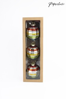 Set of 3 Paperchase Rainbow Baubles
