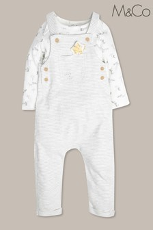 M&Co White/Grey Layered Leopard Dungarees