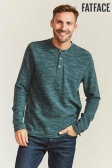FatFace Textured Henley T-Shirt