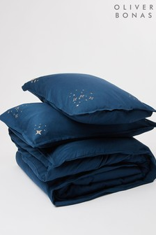 Oliver Bonas Estella Navy Embroidered Double Duvet Cover and Pillowcase Set