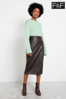 F&F Chocolate PU Pencil Skirt
