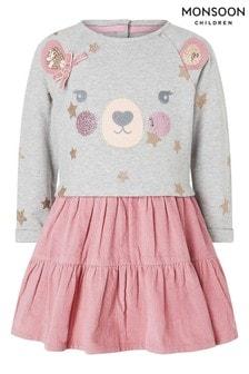 Monsoon Pink Baby Bear 2 In 1 Dress