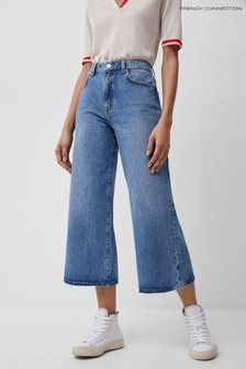 French Connection Blue Pipper Denim Cropped Wide Leg Jeans