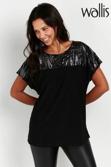 Wallis Black Metallic Palm Print T-Shirt