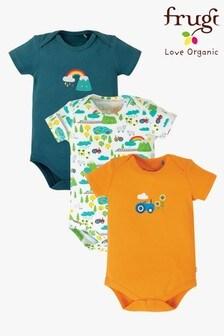Trzy body Frugi GOTS Organic: niebieski, z nadrukiem tęczy i pomarańczowy