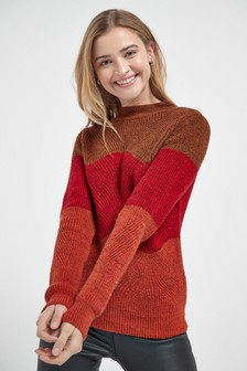Colourblock Pointelle Jumper