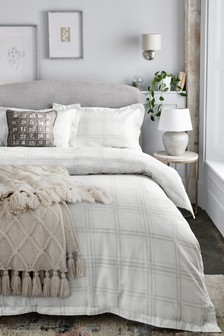 Brushed 100% Cotton Grey Check Duvet Cover and Pillowcase Set