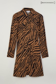 Warehouse Brown Tiger Print Mini Shirt Dress