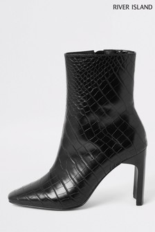 River Island Black Croc English Ankle Boots