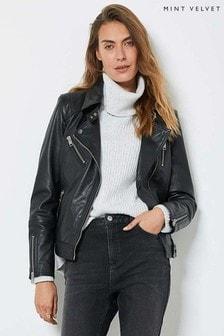 Mint Velvet Black Long Leather Jacket