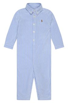 Baby Boys Blue Striped Cotton Coverall
