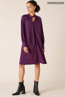 Monsoon Pink Geo Printed Short Sustainable Dress
