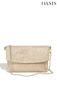 Oasis Gold Straw Clutch Bag