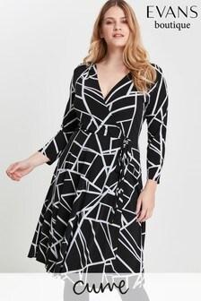 Evans Curve Black And White Geo Print Pocket Dress