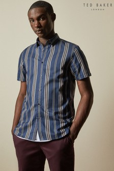 Ted Baker Doigt Striped Cotton Textured Shirt