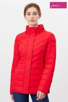 Joules Red Hartington Padded Mid Length Jacket