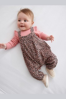 Leopard Print Dungarees (0mths-2yrs)