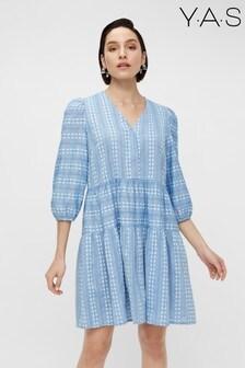 Y.A.S Organic Cotton Floral Stripe Blue Smock Dress