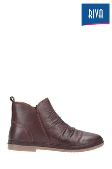 Riva Brown Kefalonia Leather Zip Ankle Boots