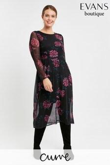 Evans Curve Black Floral Mesh Dress