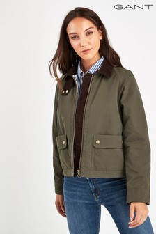 GANT Green Waxed Cropped Jacket