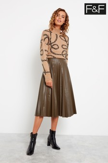 F&F Khaki Pleated PU Midi Skirt