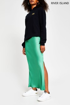 River Island Green Dark Side Spilit Satin Skirt