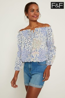 F&F Blue Lilly Bardot Top