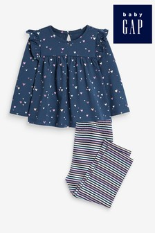 Gap Heart Print Top & Striped Leggings Set