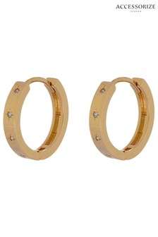 Accessorize Gold Plated Crystal Star Chunky Hoops