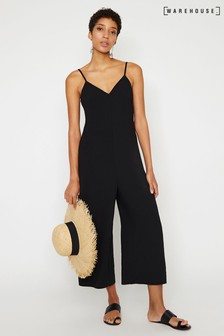 Warehouse Black Cami Culotte Jumpsuit