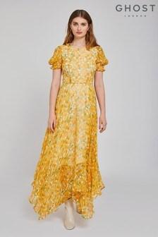 Ghost London Yellow Fleur Petite Sunflower Print Georgette Dress