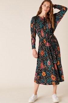 Monsoon Green Floral Print Velvet Trim Midi Dress