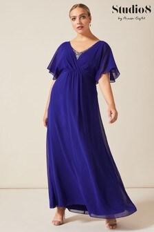 Studio 8 Blue Albertina Sequin Maxi Dress