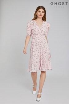 Ghost London Pink Angelina Loli Ditsy Print Crepe Dress