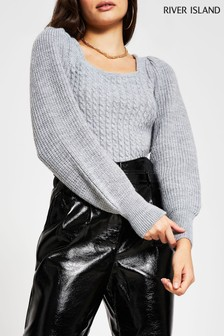 River Island Grey Marl Frill Shoulder Knit Jumper