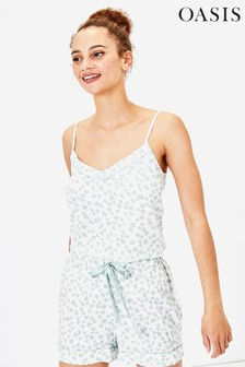 Oasis White Brushed Check Cami