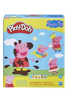 Play-Doh Peppa Pig™ Stylin Set With 9 NonToxic Modelling Compound Cans, 11 Accessories, Peppa Pig Toy For Kids 3 And Up