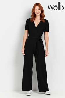 Wallis Black Ribbed Jumpsuit
