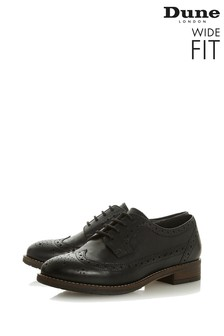 Dune London Wide Fit Black Leather Casual Lace-Up Brogues